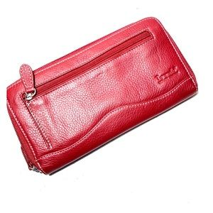 Tignanello Red Pebbled Leather Checkbook Wallet